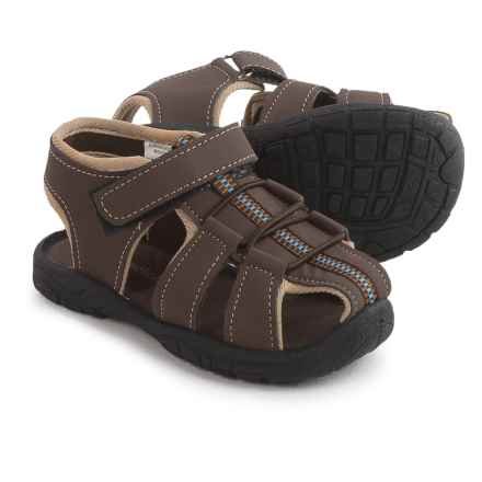 Rugged Bear 1-Strap Sport Sandals - Vegan Leather (For Toddler Boys) in Brown Beige - 2nds