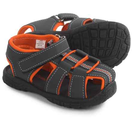 Rugged Bear 1-Strap Sport Sandals - Vegan Leather (For Toddler Boys) in Navy Orange - 2nds