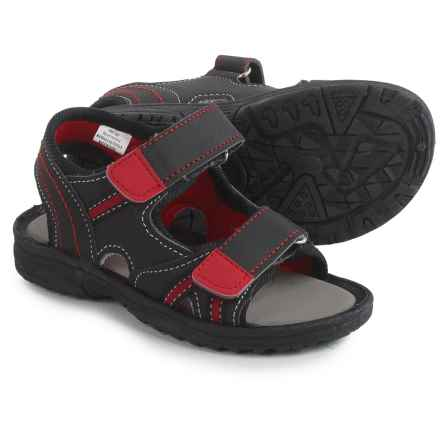 Rugged Bear 2-Strap Sport Sandals - Vegan Leather (For Toddler Boys) in Black/Red - 2nds