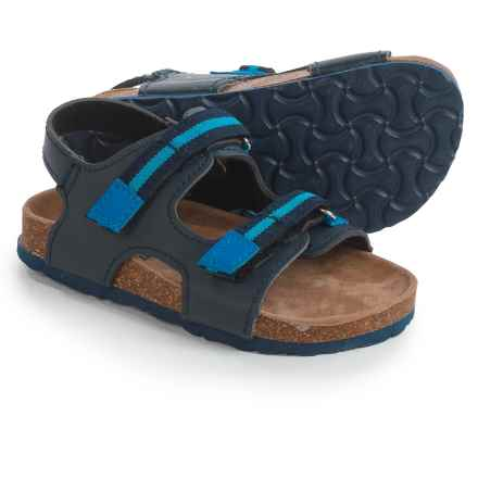Rugged Bear Casual Sandals - Vegan Leather (For Toddler Boys) in Black/Blue - Closeouts