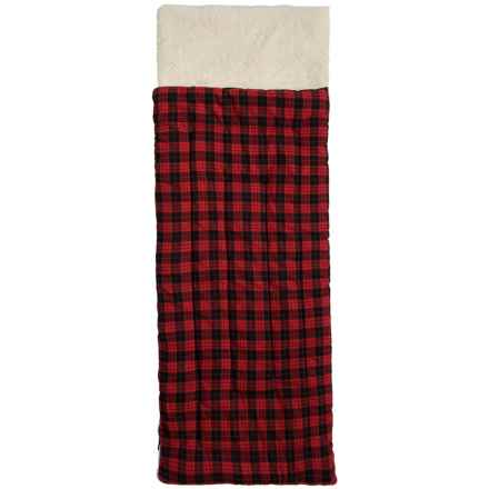 Rugged Bear Flannel Sleeping Bag - Fleece Lined (For Kids) in Red/Black - Closeouts