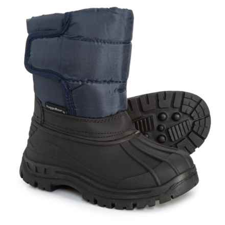 Rugged Bear Single Strap Snow Boots For Toddler Boys In Black Navy