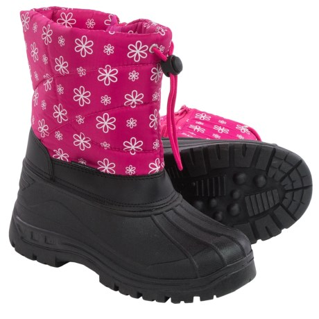 Rugged Bear Snow Boots - Insulated (For Little and Big Girls) in Black/Fuschia