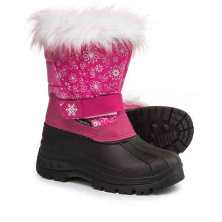 Rugged Bear Snowflake Print Pac Boots (For Little and Big Girls) in Fuchsia - Closeouts