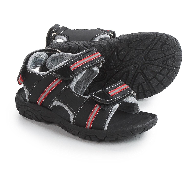 Black sandals for toddler boy - Rugged Bear Sport Sandals Vegan Leather For Toddler Boys In Black Red