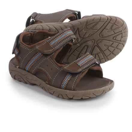 Rugged Bear Strappy Sport Sandals - Vegan Leather (For Toddler Boys) in Brown - 2nds