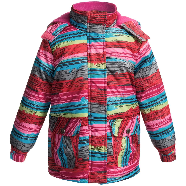 rugged bear striped hooded ski jacket for little girls. Black Bedroom Furniture Sets. Home Design Ideas