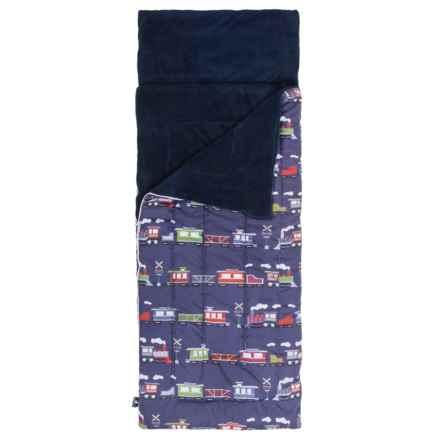 Rugged Bear Train Stripe Sleeping Bag (For Boys) in Blue - Closeouts