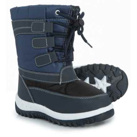 Rugged Bear Zip and Lace Snow Boots (For Boys) in Navy/Black - Closeouts