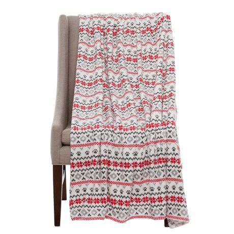 """Run Wild Holiday Paws Striped Pet Throw Blanket - 50x60"""" in Red"""