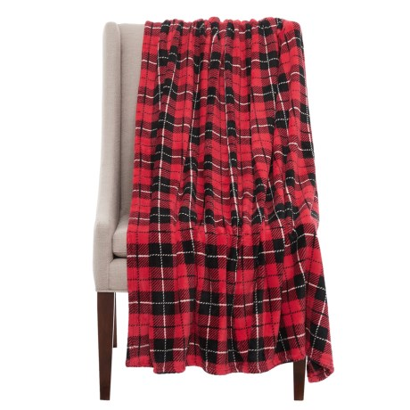 """Run Wild Holiday Winter Plaid Pet Throw Blanket - 50x60"""" in Red"""