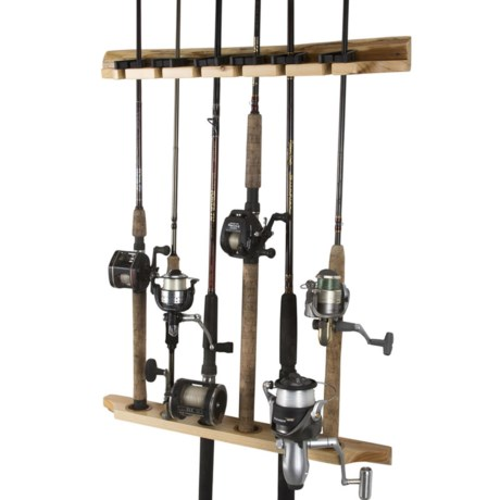 "Rush Creek Creations Creations Wooden 6-Rod Fishing Rod Rack - 2-Piece, 23"" in Wood"