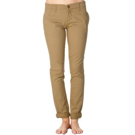 RVCA Unwind Peached Twill Pants - Skinny Fit (For Women) in Tan