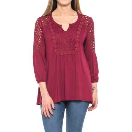 RXB Lacy Peasant Blouse - 3/4 Sleeve (For Women) in Rhumba Red - Overstock