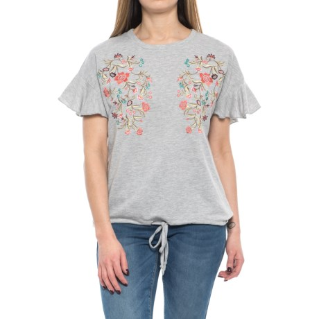 RXB Ruffle Sleeve Embroidered Shirt - Short Sleeve (For Women) in Morning Fog