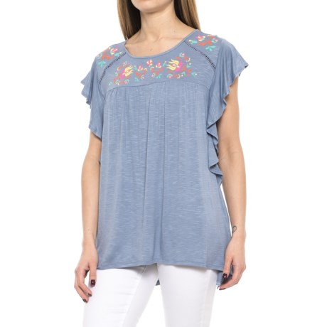 RXB Ruffled and Embroidered Tank Top (For Women) in Stonewash
