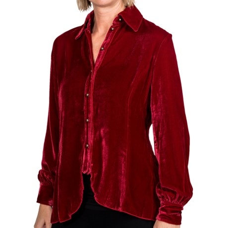 Ryan Michael 148 Drape Blouse - Long Sleeve (For Women) in Crimson