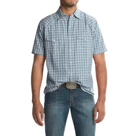Ryan Michael Arrow Dobby Shirt - Short Sleeve (For Men) in Teal - Closeouts