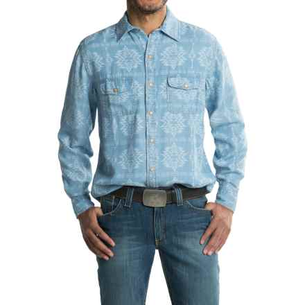 Ryan Michael Aztec Laser Print Shirt - TENCEL®, Snap Front, Long Sleeve (For Men) in Indigo - Closeouts