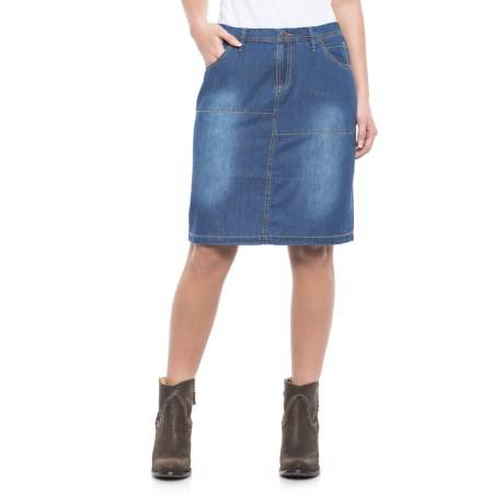 Ryan Michael Cotton-Silk Denim Skirt (For Women) in Indigo
