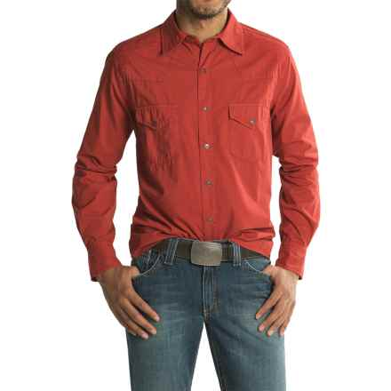 Ryan Michael Embroidered Yoke Shirt - Cotton-TENCEL®, Long Sleeve (For Men) in Brick - Closeouts