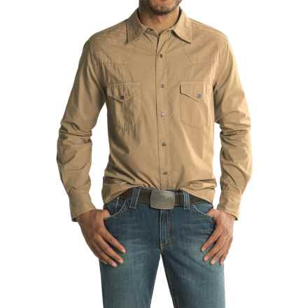 Ryan Michael Embroidered Yoke Shirt - Cotton-TENCEL®, Long Sleeve (For Men) in Khaki - Closeouts