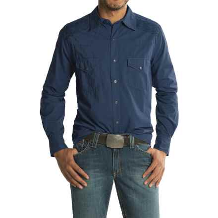Ryan Michael Embroidered Yoke Shirt - Cotton-TENCEL®, Long Sleeve (For Men) in Navy - Closeouts