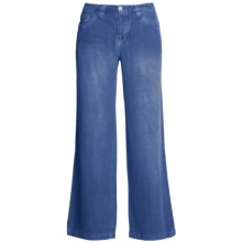 Ryan Michael Linen Pants - Flat Front, Straight Leg (For Women) in Indigo - Closeouts