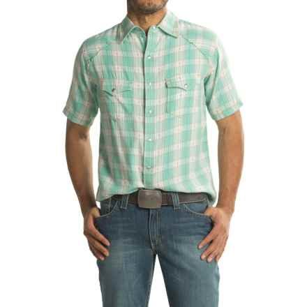 Ryan Michael Ombre Plaid Shirt - Snap Front, Short Sleeve (For Men) in Seafoam - Closeouts