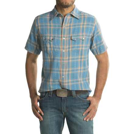 Ryan Michael Plaid Shirt - Snap Front, Short Sleeve (For Men) in Sky - Closeouts