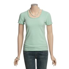 Ryan Michael Ruffled Cotton Tee Shirt - Short Sleeve (For Women) in Jade - Closeouts