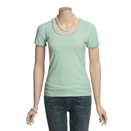 Ryan Michael Ruffled Cotton Tee Shirt - Short Sleeve (For Women) in Jade