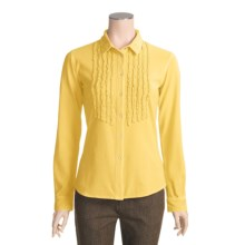 Ryan Michael Ruffled Knit Western Shirt - Long Sleeve (For Women) in Buttercup - Closeouts