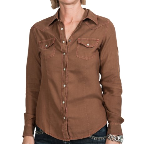 Ryan Michael The Classic Western Shirt - Snap Front, Long Sleeve (For Women) in Saddle