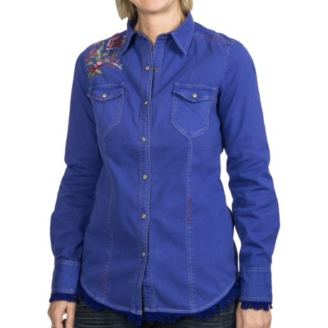Ryan Michael The Rosewood Shirt - Snap Front, Long Sleeve (For Women) in Amethyst