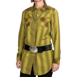 Ryan Michael The Tucson Tunic Shirt - Snap Front, Long Sleeve (For Women) in Pear