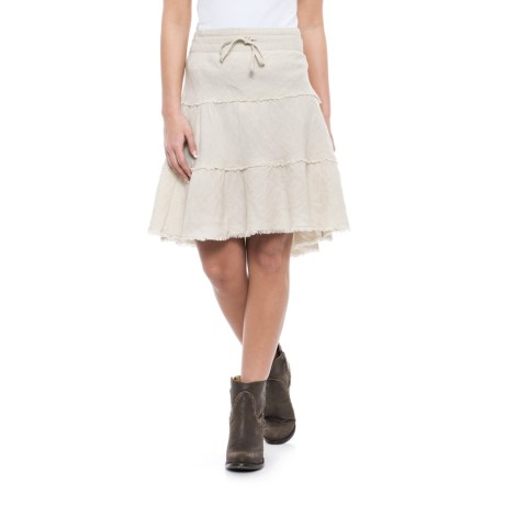 Ryan Michael Tiered Raw-Linen Skirt (For Women) in Linen