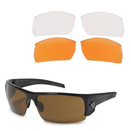 Ryders Eyewear Caliber Interx Sunglasses - Extra Lenses in Black/Brown/Clear/Orange