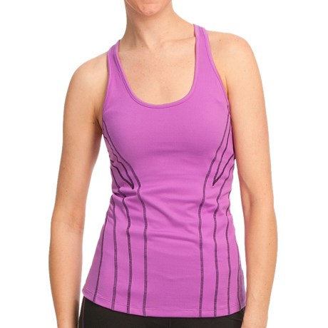 Ryka Hypnotic Tank Top - Racerback, Built-In Shelf Bra (For Women) in Sugar Plum/Black