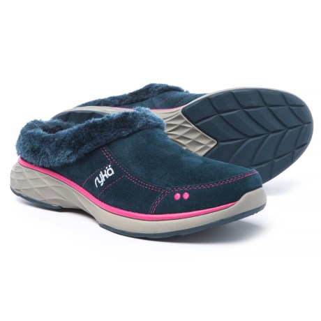 ryka Luxury Suede Athletic Clogs - Faux-Fur Trim (For Women) in Navy/Pink Leather