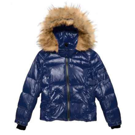 S13/NYC Faux-Fur Mogul Down Coat (For Big Girls) in Navy - Closeouts