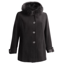 Sachi Collection Hooded Wool-Cashmere Coat - Fox Fur Trim (For Plus Size Women) in Black - Closeouts