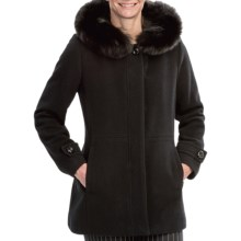 Sachi Collection Wool Walker Coat - Fox Fur Trim (For Women) in Black - Closeouts