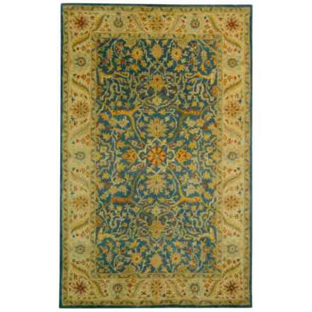 Safavieh Antiquity Collection Blue Flower Medallion Area Rug - 5x8', Hand-Tufted Wool in Blue - Closeouts