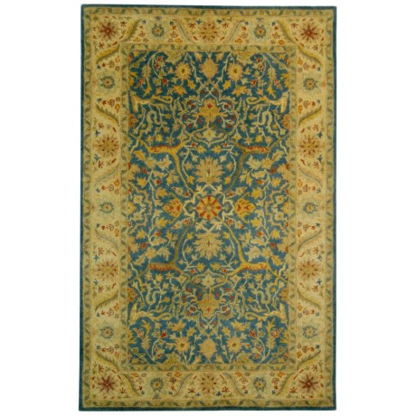 Safavieh Antiquity Collection Blue Flower Medallion Area Rug - 5x8', Hand-Tufted Wool in Blue