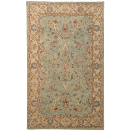 Safavieh Antiquity Collection Brown and Gold Area Rug - 5x8', Hand-Tufted Wool in Teal/Beige