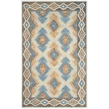 Aztec-Pattern Blue and Beige Area Rug - 5x8', Micro-Pile Wool in Blue/Beige - Closeouts