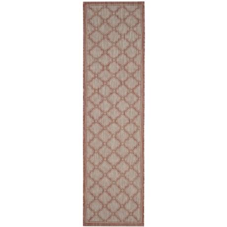 """Safavieh Courtyard Collection Medallion Indoor/Outdoor Floor Runner - 2'2""""x8', Red-Beige in Red/Beige"""