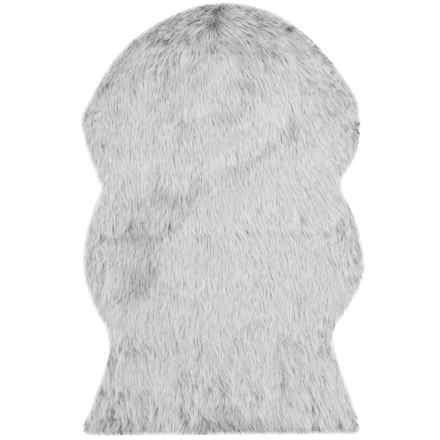 Safavieh Faux-Fur Sheepskin Shaped Rug - 2x3' in Light Grey - Closeouts