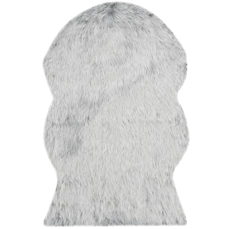 Safavieh Faux-Fur Sheepskin Shaped Rug - 2x3' in Light Grey